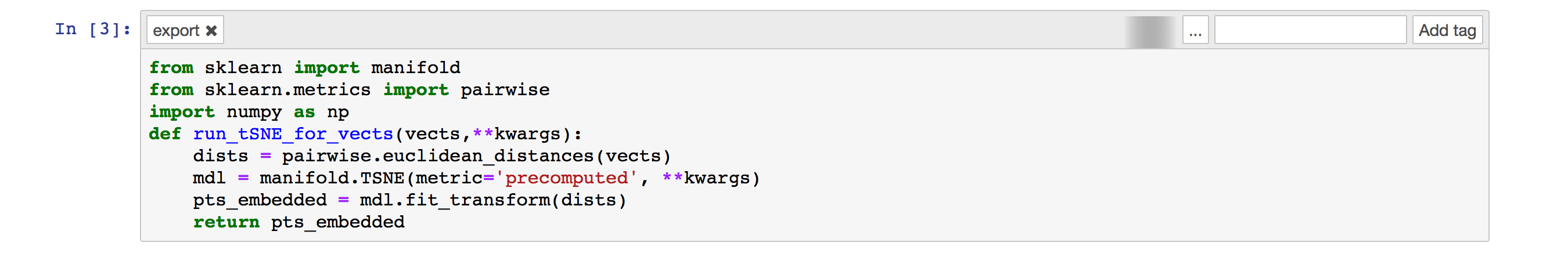 Jupyter cell defining the Python function we'll use from within KNIME Analytics Platform
