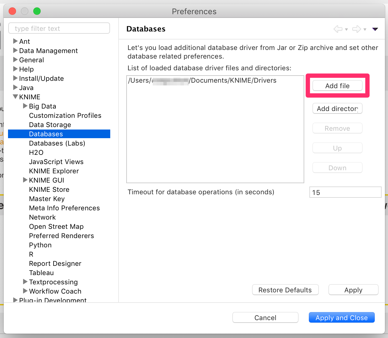 Adding the .jar file in the Databases dialog window of Preferences in KNIME Analytics Platform