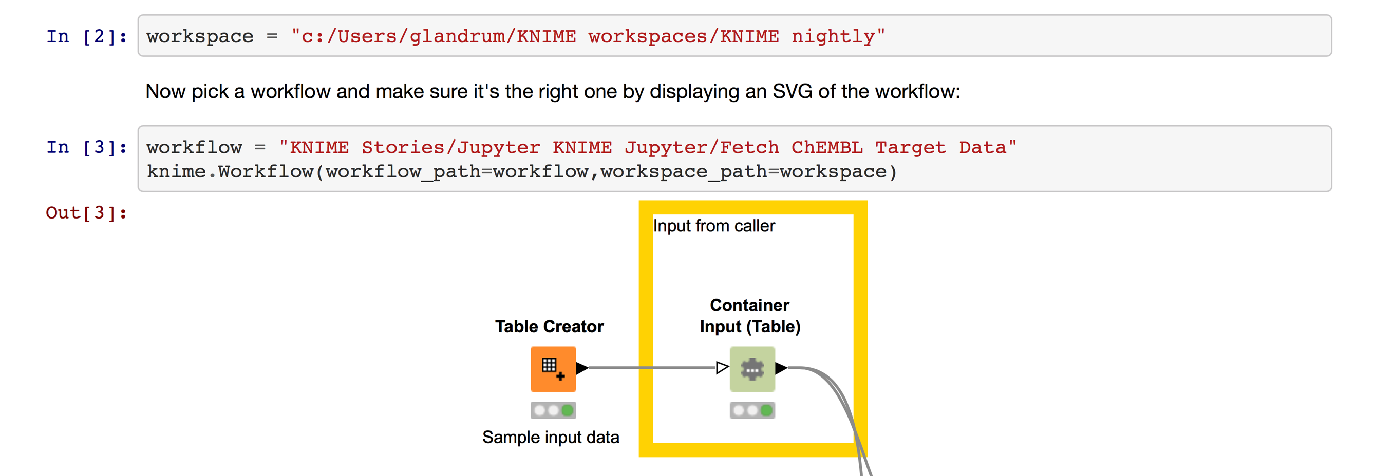 Opening a KNIME workflow in Jupyter, specifying the filesystem path to the KNIME workspace and location of workflow in that workspace.
