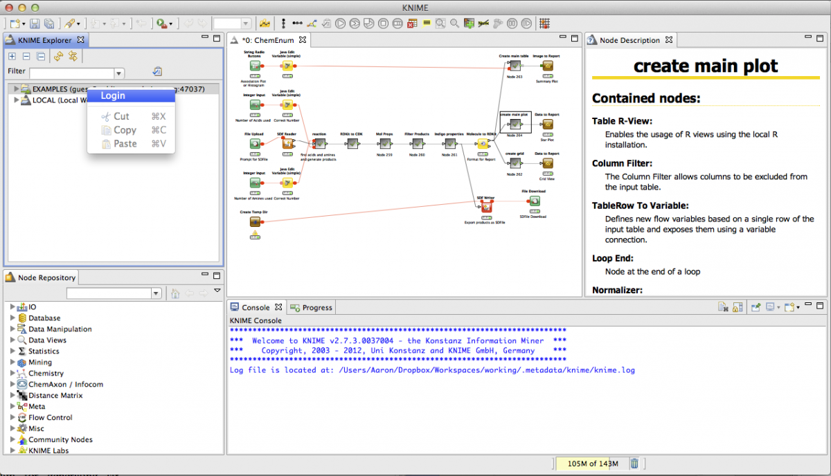 Knime modeling environment