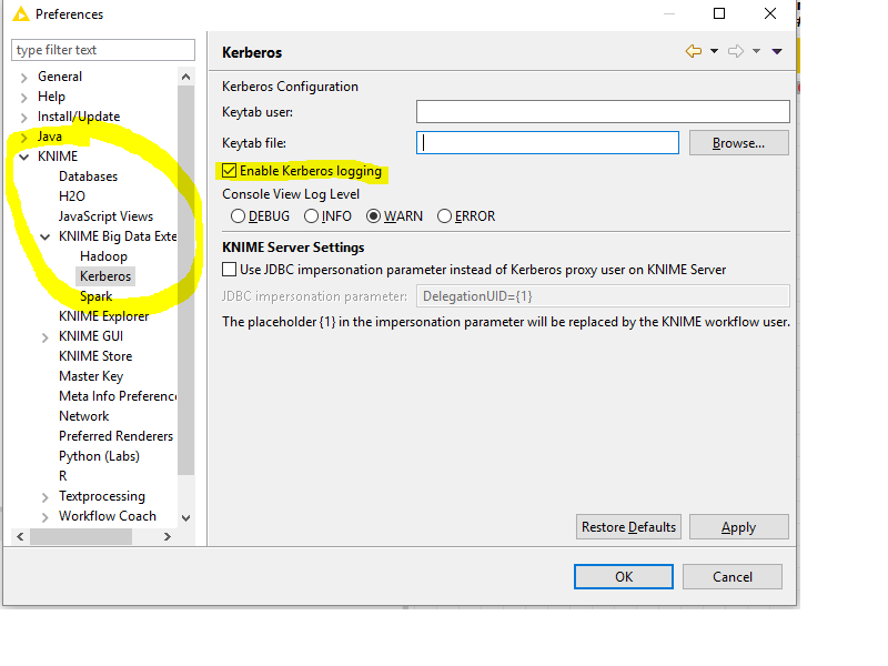 Kerberos preferences dialog with Kerberos logging enabled