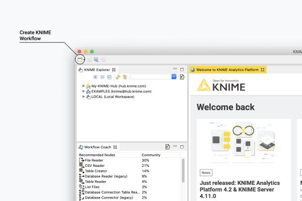 KNIME Analytics Platform Create Workflow Button
