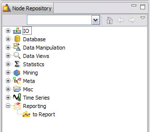 KNIME node repository with the to Report node
