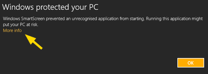 Windows 8 administrator SmartScreen dialog page 1