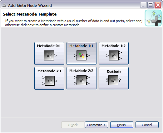 screenshot of meta node wizard first page