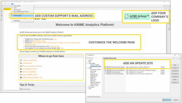 Examples of managing customizations with KNIME Server