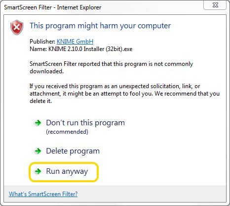 Windows 7 SmartScreen actions