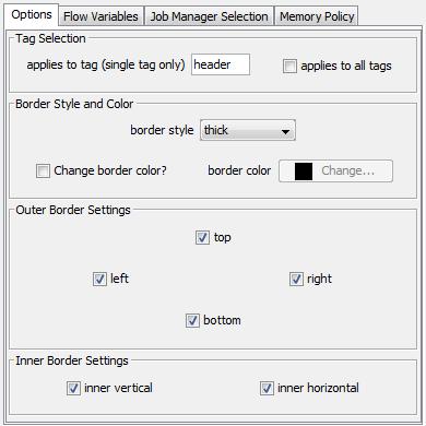 XLS Border Formatter Dialog